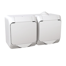 Zásuvka dvojnásobná Cedar, bílá, IP 44