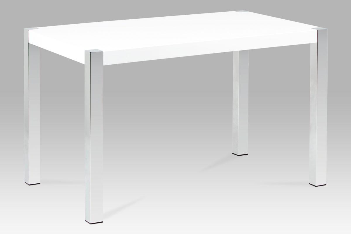 Jídelní stůl 120×75 cm, vysoký lesk bílý/chrom, cena za ks
