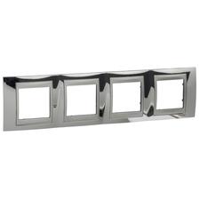 Rámeček čtyřnásobný, Unica Top, cromo/aluminium