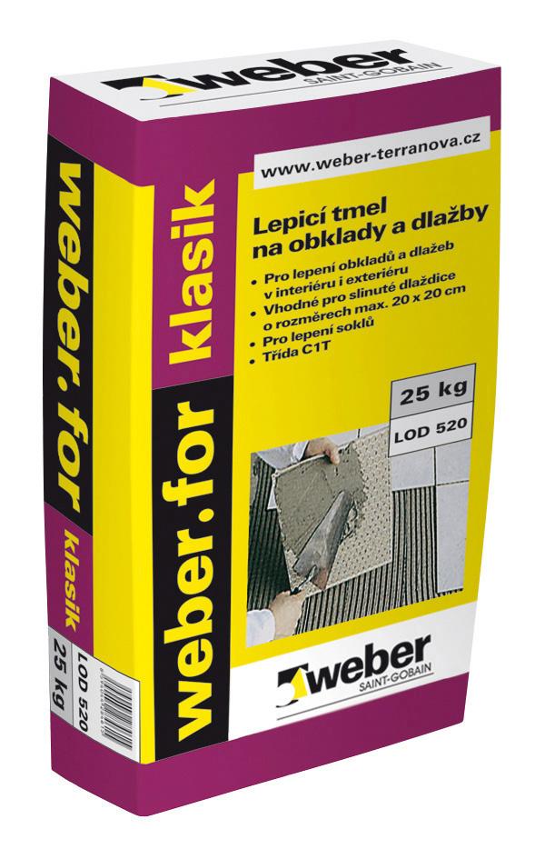 Cementový lepicí tmel Weber.for klasik C1T, 25kg