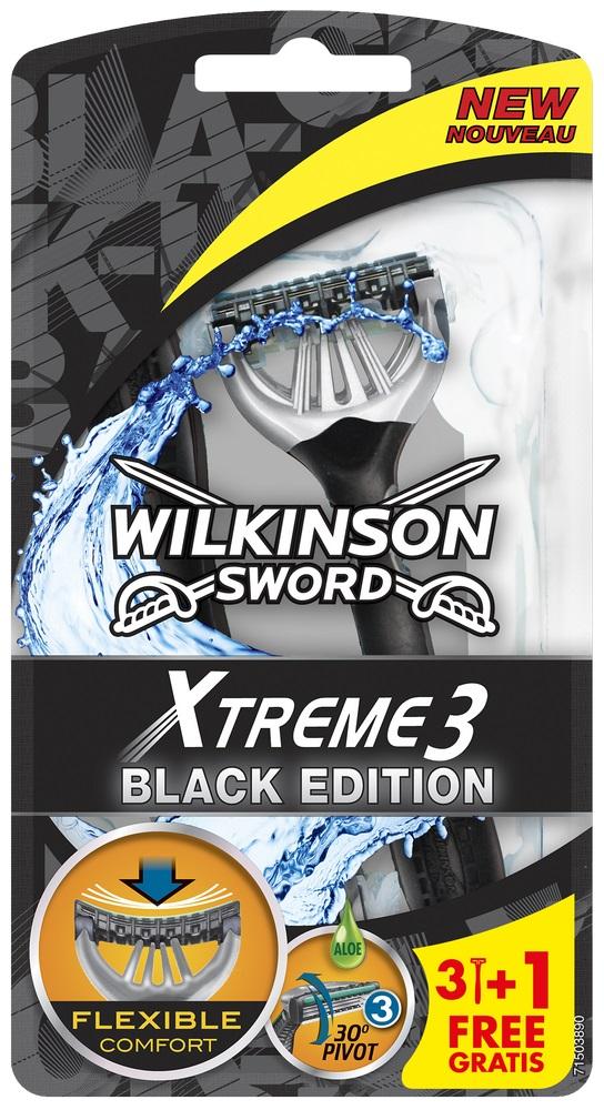 Jednorázový holicí strojek (3+1 ks) WILKINSON Xtreme3 Black