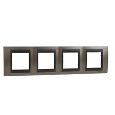 Rámeček čtyřnásobný, Unica Top, onyx copper/grafit