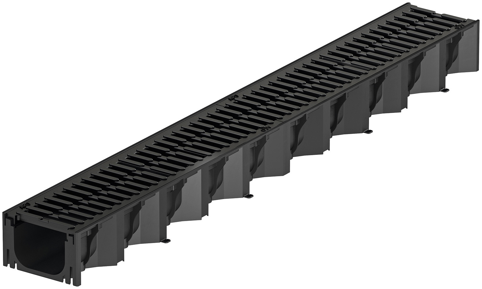 Žlab s plastovým můstkovým roštem ACO HexaSelf 1,0 m, černý