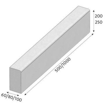 Silniční obrubník CSB T8 1000/80/250 šedá