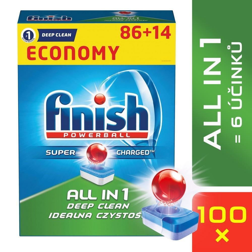 Tablety do myčky FINISH All-in-1 86 + 14 ks, cena za ks