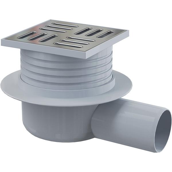 Podlahová boční vpusť APV26 105×105/50 mm s nerezovou mřížkou a vodní zápachovou uzávěrou