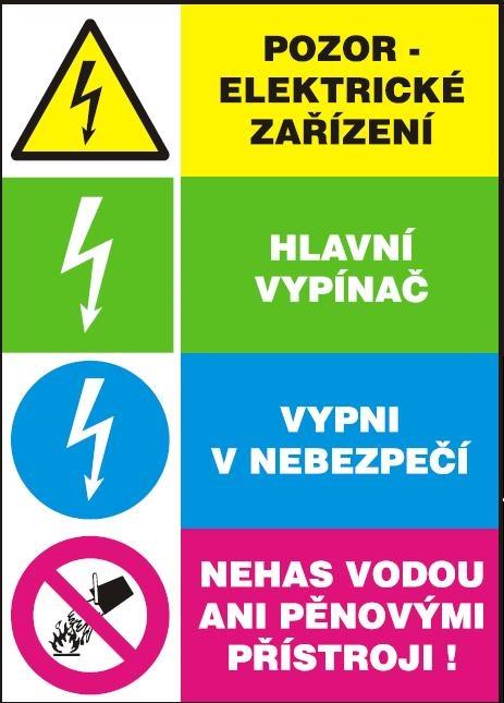 Pozor! Elektrické zařízení - samolepka A5