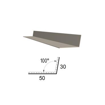 Koutová lišta z poplastovaného plechu Viplanyl 30×50 mm, r. š. 80 mm (vnitřní)