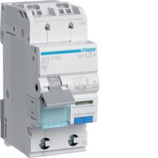 Chránič proudový bezšroubový s jištěním Hager ADS910D 6 kA 2pól 10 A