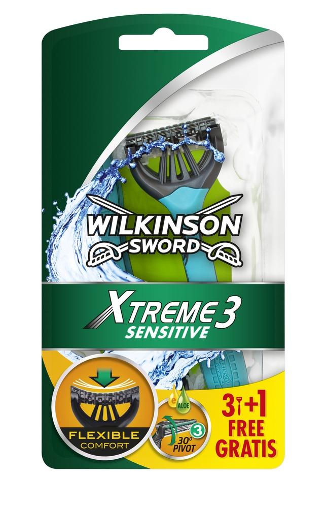 Jednorázový holicí strojek (3+1 ks) WILKINSON Xtreme3 Sensitive