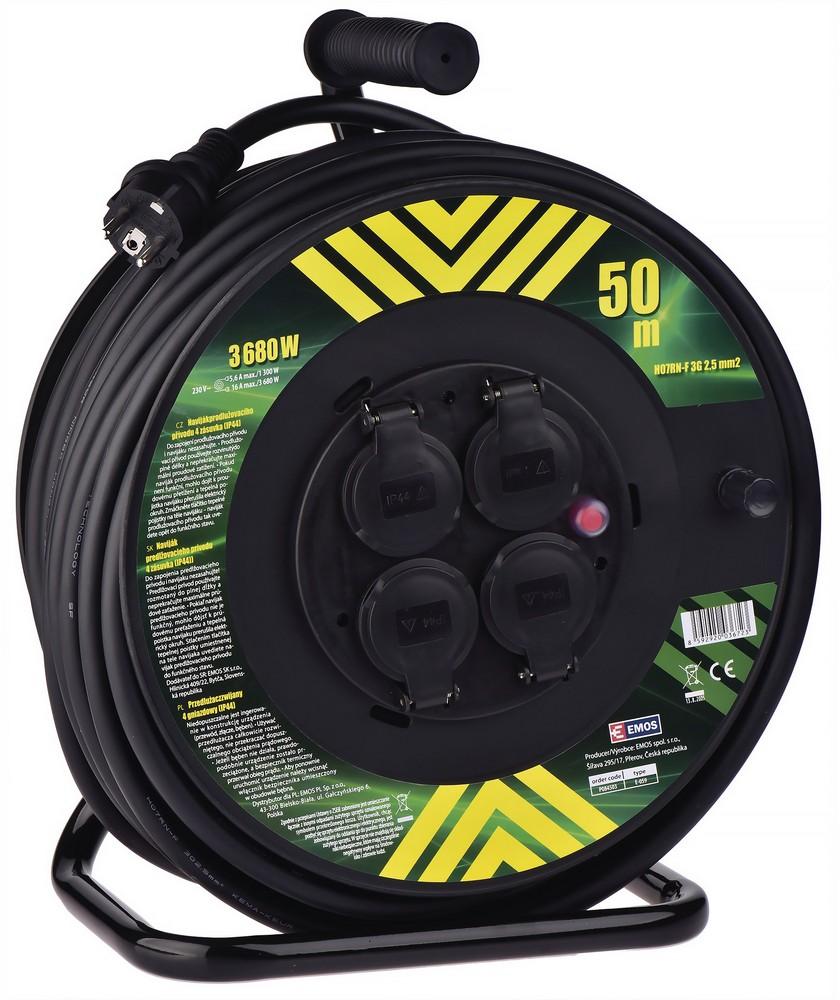 Kabel prodlužovací pryžový na bubnu 3x2,5 mm2 230 V 4 zásuvky 50 m