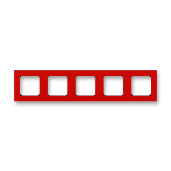 Rámeček pětinásobný pro vodorovnou i svislou montáž Levit červená / kouřová černá