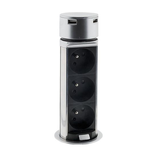 Blok zásuvkový výsuvný kruhový Solight, 3× 230 V, 2× USB