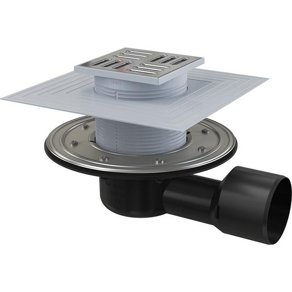 Podlahová boční vpusť APV3344 105×105/50/75 mm s nerezovou mřížkou, izolací a zápachovou uzávěrou