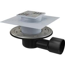 Podlahová boční vpusť Alcaplast APV3344 105×105 mm - DN50/75 s nerezovou mřížkou