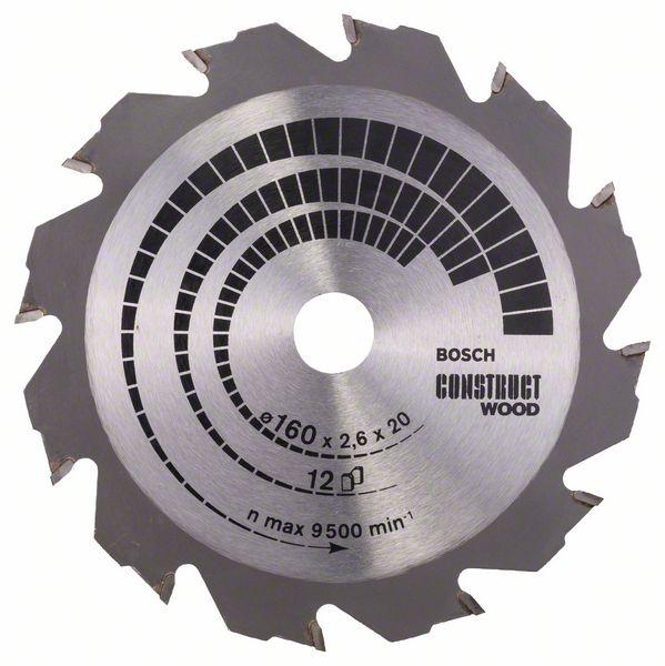 Kotouč pilový Bosch Construct Wood 160×20/16×1,6 mm 12 z.