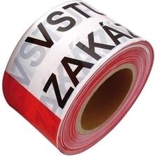 Páska výstražná VSTUP ZAKÁZÁN bílo-červená 80 mm × 250 m