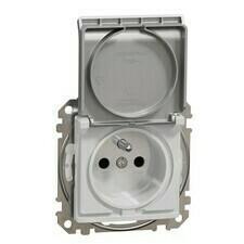 Zásuvka IP 44 Schneider Sedna Design jednonásobná aluminium