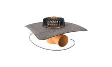 Vyhřívaná vodorovná střešní vpusť TOPWET s bitumenovým límcem průměr 75 mm