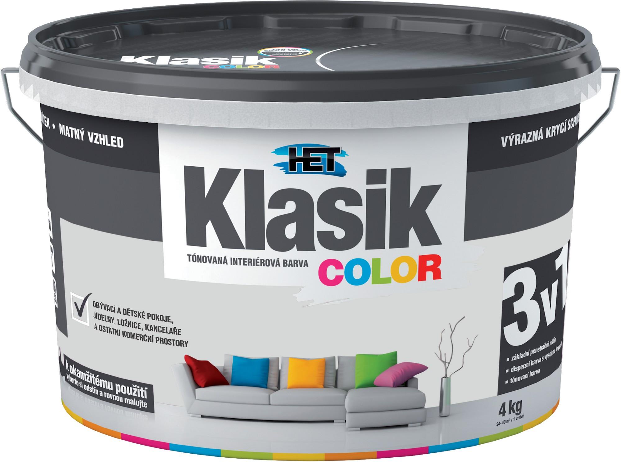 Malba interiérová HET Klasik Color šedý platinový, 4 kg