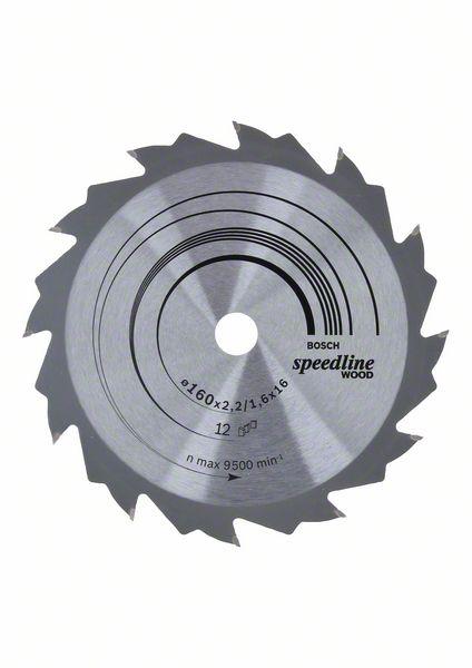 Kotouč pilový Bosch Speedline Wood 160×16×1,6 mm 12 z.