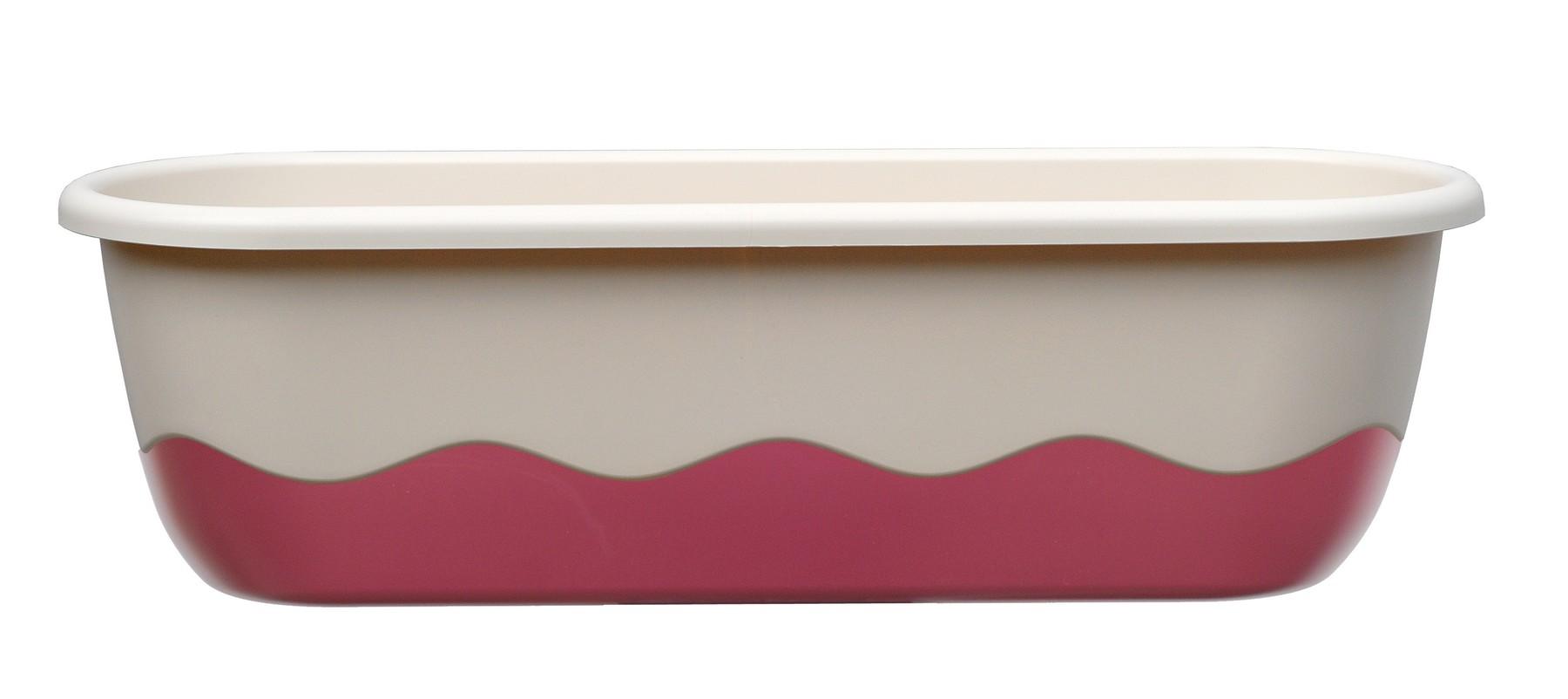 Samozavlažovací truhlík MARETA 60, slonová kost světlá + vínová