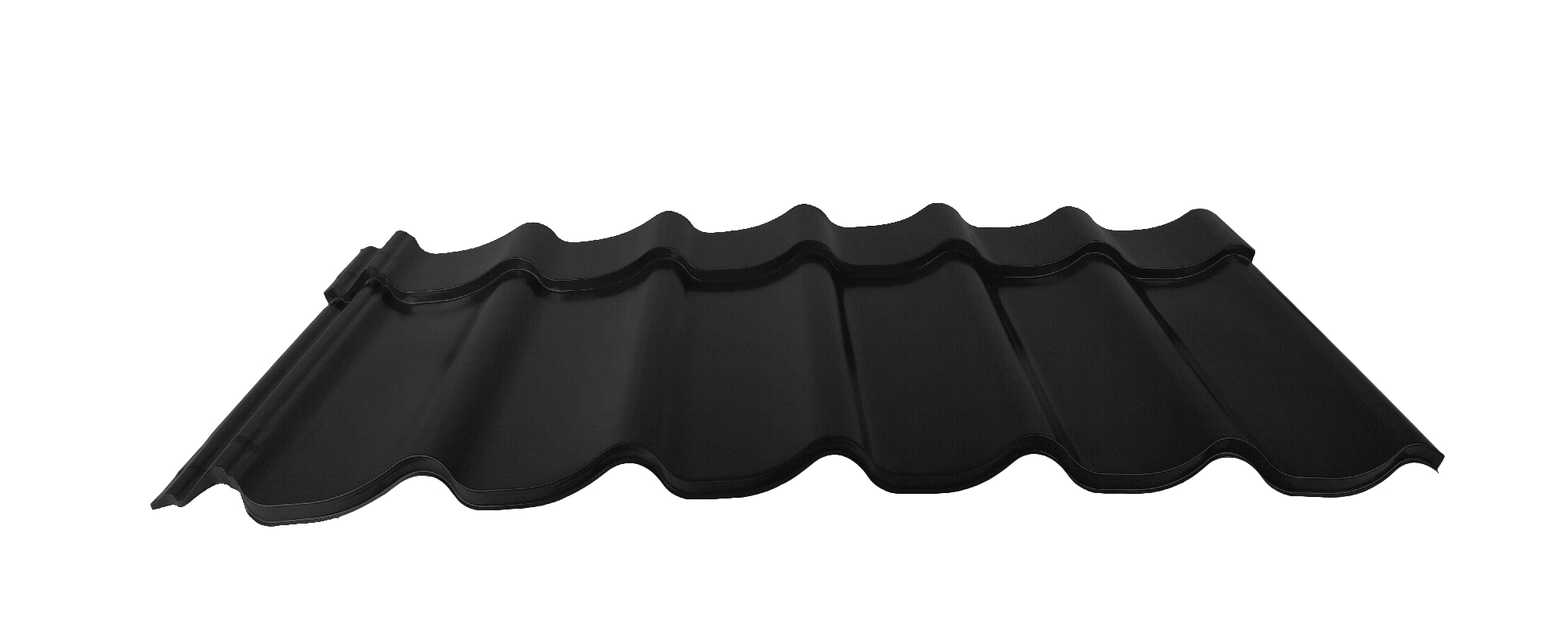 Velkoformátová profilovaná plechová střešní krytina MAXIDEK PU50max MN131 černá