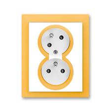 Zásuvka dvojnásobná natočená s ochrannými kolíky, s clonkami Neo bílá / ledová oranžová