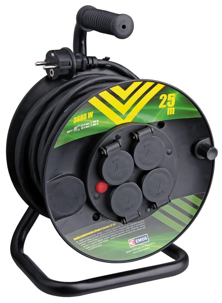 Kabel prodlužovací pryžový na bubnu 3x1,5 mm2 230 V 4 zásuvky 25 m