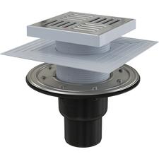 Podlahový přímá vpusť Alcaplast APV4444 150×150 - DN 50/75  s nerezovou mřížkou