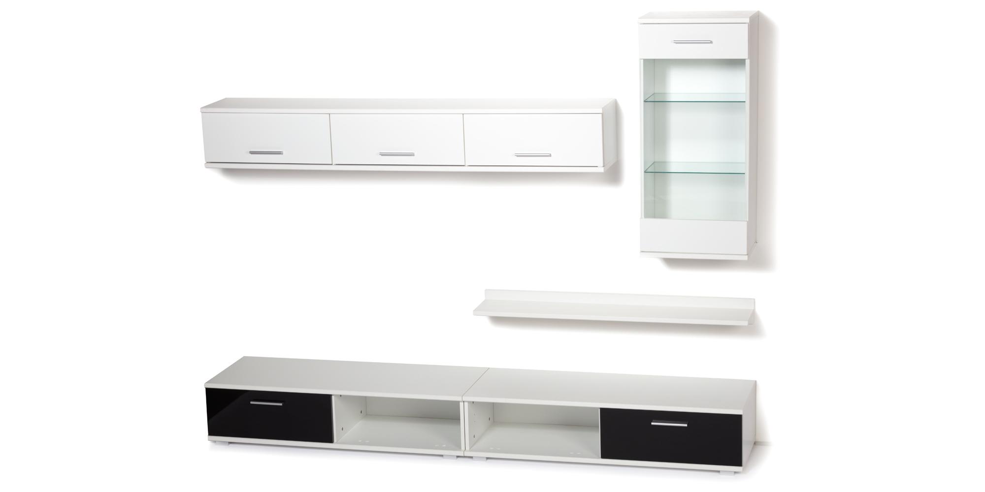Obývací stěna TAHITI / MALIBU bílá/černá, cena za ks