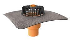 Svislá střešní vpusť TOPWET s integrovaným bitumenovým límcem o průměru 125 mm