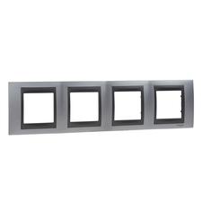 Rámeček čtyřnásobný, Unica Top, chrome/grafit
