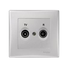 Zásuvka kompletní TV/R průběžná, Sedna aluminium