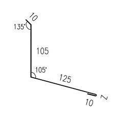 Lemování zdi rovnoběžné s okapem RS250S-105 SP25 RAL9006 0,50mm 2bm