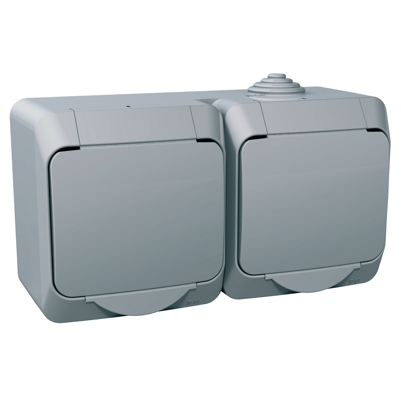 Zásuvka dvojnásobná Cedar, šedá, IP 44