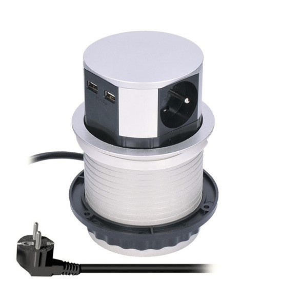 Zásuvka výsuvná kruhová Solight, 3× 230 V, 2× USB, stříbrná