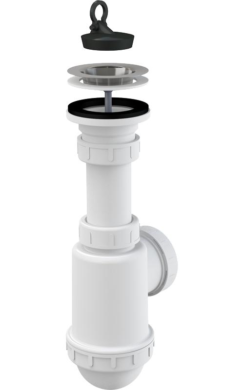 Dřezový sifon Alcaplast A441 DN50/40 s nerezovou mřížkou průměru 70 mm