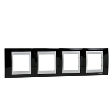 Rámeček čtyřnásobný, Unica Top, rhodium black/aluminium