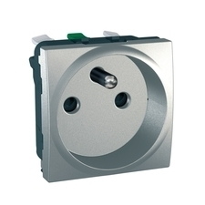 Zásuvka jednonásobná Unica, aluminium, bezšroubová