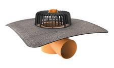 Vodorovná střešní vpusť TOPWET s integrovaným bitumenovým límcem o průměru 125 mm