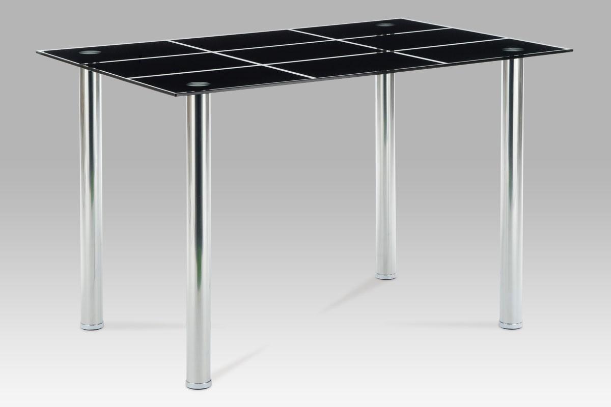Jídelní stůl 120×80 cm, černé sklo/chrom, cena za ks