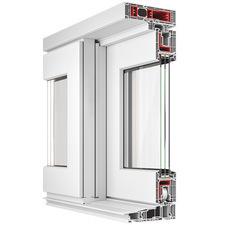 Okno plastové posuvné WINDEK PVC HST CLIMA STAR 82 2890/2345 mm hnědá/bílá