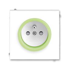 Zásuvka Neo, bezšroubová, clonky, bílá/ledová zelená