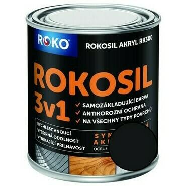 Barva samozákladující Rokosil akryl 3v1 RK 300 černá mat 0,6 l