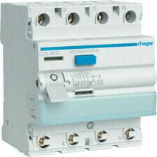 Chránič proudový bezšroubový Hager CDS440D 6 kA 4pól 40 A
