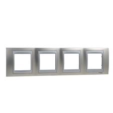 Rámeček čtyřnásobný, Unica Top, nikl/aluminium