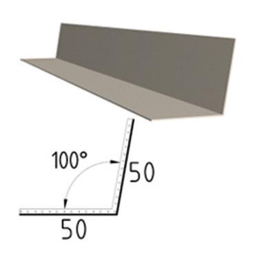 Koutová lišta z poplastovaného plechu Viplanyl 50x50 mm, r.š. 100 mm