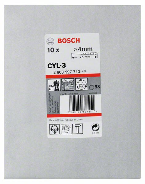 Vrták do betonu Bosch CYL-3 Silver Percussion 4×40×75 mm 10 ks