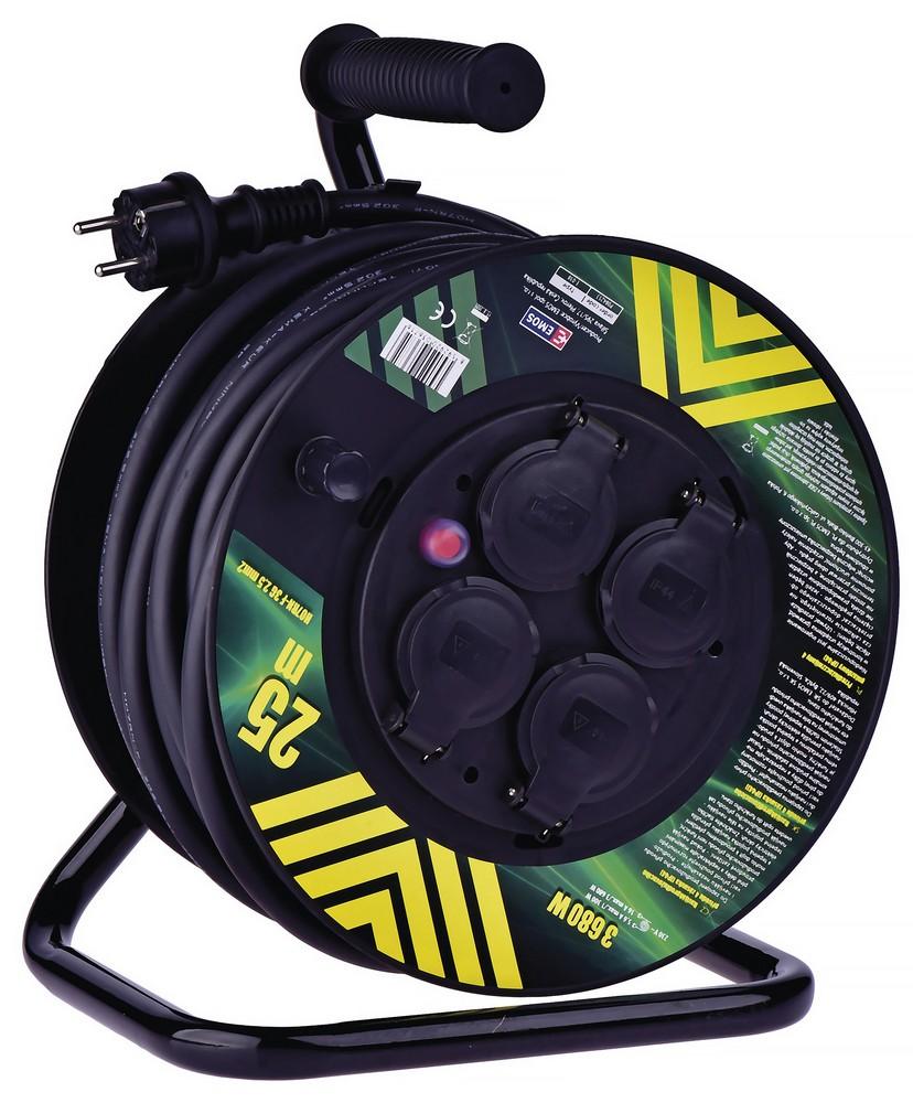 Kabel prodlužovací pryžový na bubnu 3x2,5 mm2 230 V 4 zásuvky 25 m